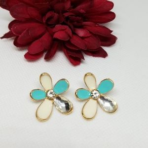 Multi Color Flower Crystal Stud Earrings
